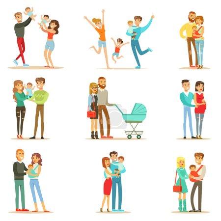 Illustration pour Jeunes et futurs parents avec de petits bébés et des tout-petits Serie of Happy Full Family Portraits. Personnages de bande dessinée souriants, maman, papa et les nourrissons ensemble Illustrations vectorielles . - image libre de droit
