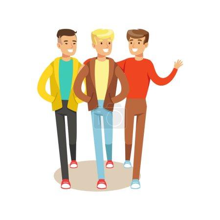 Illustration pour Trois meilleurs amis heureux sortant, partie de la série d'illustration de l'amitié. Des personnages vectoriels de bande dessinée souriants passent du temps avec leurs amis et leurs compagnons . - image libre de droit