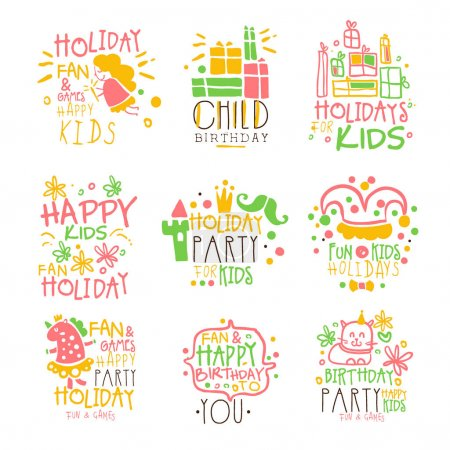 Kids Birthday Party Entertainment Promo Signs Series Of Colorful Vector Design Templates With Festive Symbols