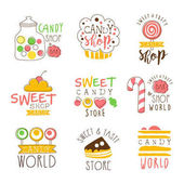 Candy Shop Promo Signs Series Of Colorful Vector Design Templates With Sweets And Pastry Silhouettes