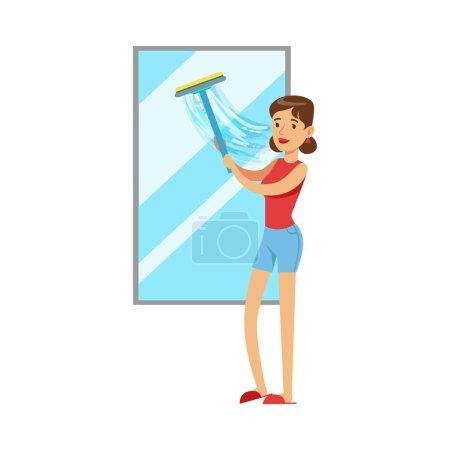 Hausfrau putzt Fenster mit Rakel, klassische Haushaltspflicht der Hausfrau Illustration