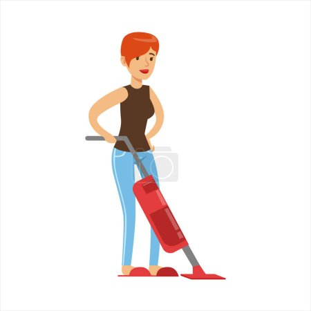 Woman Housewife Cleaning The Floor With Vacuum Cleaner, Classic Household Duty Of Staying-at-home Wife Illustration