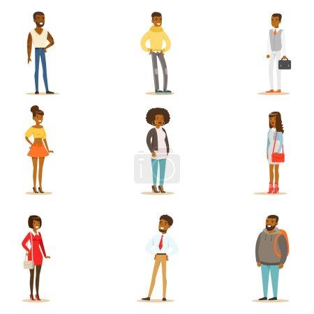 Illustration pour Afro-American Black People Street Style Clothing Set of Cartoon Characters Standing. Hommes Américains Et Femmes Du Groupe Ethnique Africain En Vêtements D'été Illustrations Vectorielles . - image libre de droit