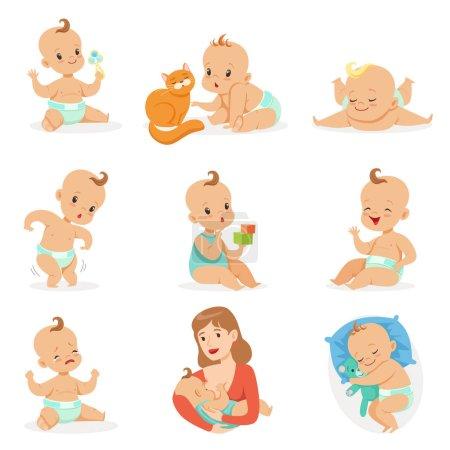 Illustration pour Adorable bébé heureux et son jeu de routine quotidienne de dessins animés mignons Enfance et bébé Illustrations. Stickers vectoriels avec des scènes de vie et des émotions pour tout-petits dans un joli style de fille . - image libre de droit