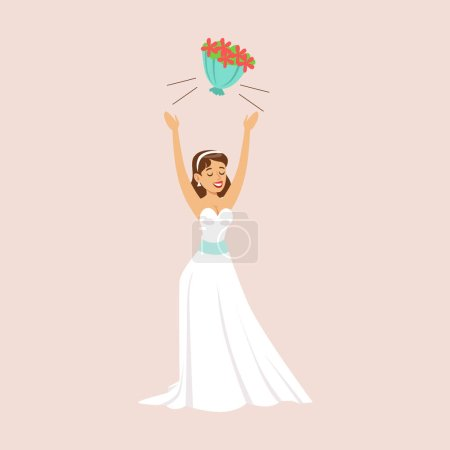 Illustration for Bride Throwing Her Bridal Bouquet At The Wedding Party Scene. Cute Bride And Groom Couple In Classic Outfits Simple Vector Illustration On Pink Background. - Royalty Free Image