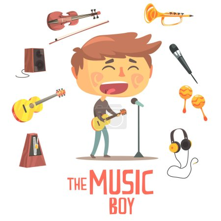 Illustration for Boy Singer And Musician, Kids Future Dream Professional Occupation Illustration With Related To Profession Objects. Smiling Child Carton Character With Career Attributes Around Cute Vector Drawing. - Royalty Free Image
