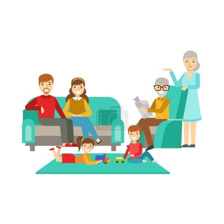 Parents et grands-parents regardant les enfants jouer, famille heureuse passer du bon temps ensemble Illustration