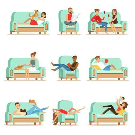 People Resting At Home Relaxing On Sofa Or Armchair Having Lazy Free Time And Rest Seris Of Illustrations