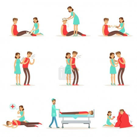 Illustration for Woman Following Firs Aid Primary And Secondary Emergency Treatment Procedures Collection Of Infographic Illustrations. Rescue And Problem Management Situations Set Of Cartoon Drawings. - Royalty Free Image