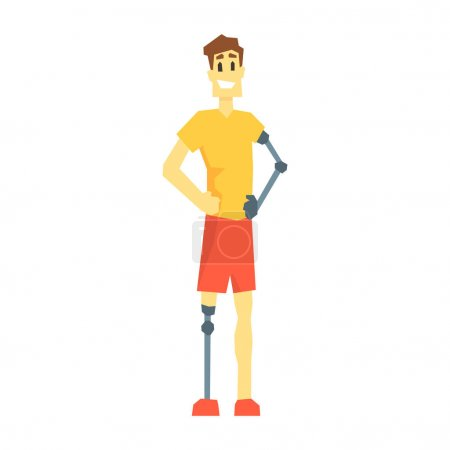Illustration for Guy WithProsthetic Leg And Arm, Young Person With Disability Overcoming The Injury Living Full Live Vector Illustration. Handicapped Person Happy Cartoon Character. - Royalty Free Image