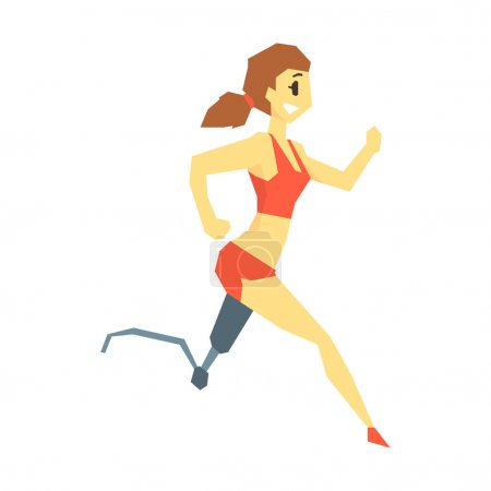 Illustration for Woman Running With Prosthetic Leg, Young Person With Disability Overcoming The Injury Living Full Live Vector Illustration. Handicapped Person Happy Cartoon Character. - Royalty Free Image