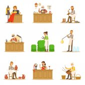 Artisan Craftsmanship Masters Adult People And Craft Hobbies And Professions Set Of Vector Illustrations