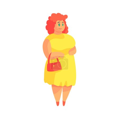 Illustration for Happy Plus Size Woman In Yellow Suummer Dress With Purse Enjoying Life, Smiling Overweighed Girl Cartoon Characters. Flat Vector Illustration With Pleasantly Plump Cute Lady On White Background. - Royalty Free Image