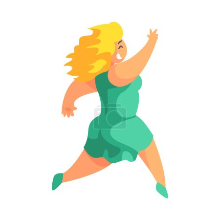 Illustration for Happy Blond Plus Size Woman In Short Green Summer Dress Running Enjoying Life, Smiling Overweighed Girl Cartoon Characters Flat Vector Illustration With Pleasantly Plump Cute Lady On White Background. - Royalty Free Image