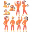 Постер, плакат: Racing Team Members In Orange Uniform Including Driver and Pit Stop Technicians Team Set of Cartoon Characters