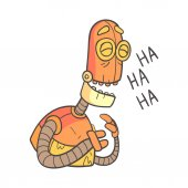 Laughing Orange Robot Cartoon Outlined Illustration With Cute Android And His Emotions