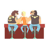 Two Biker Gang Members Scarying Skinny Bar Client Beer Bar And Criminal Looking Muscly Men Having Good Time Illustration
