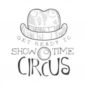 Hand Drawn Monochrome Vintage Circus Show Time Promotion Sign With Clown Nose And Hat In Pencil Sketch Style With Calligraphic Text Theatre Festival Artistic Label Design Template In Black And White