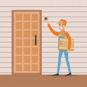 Delivery Service Worker Ringing The Appartment Doorbell Smiling Courier Delivering Packages Illustration