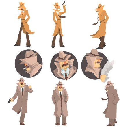 Illustration for Police Detective And Private Investigator At Work Investigating And Solving Crimes Set Of Undercover Portraits. Professional Sleuth In Long Coat And Hat Cartoon Character Searching For Clues. - Royalty Free Image