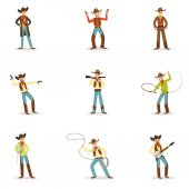 North American Cowboy With Different Accessories Set Of Cartoon Characters Modern Western Cattle Hurdlers In Traditional Texan Cowboy Outfit