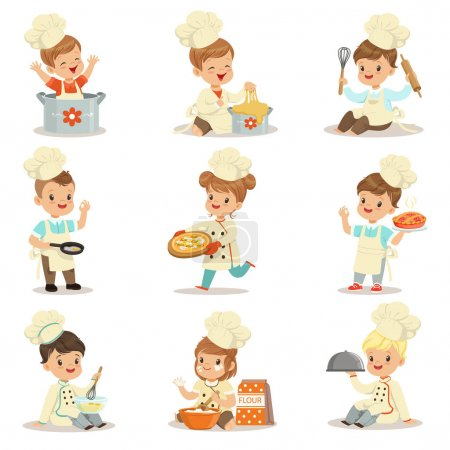 Small Kids In Chief Double-Brested Coat And Toque Hat Cooking Food And BAking Set OF Cute Cartoon Characters Preparing Meal