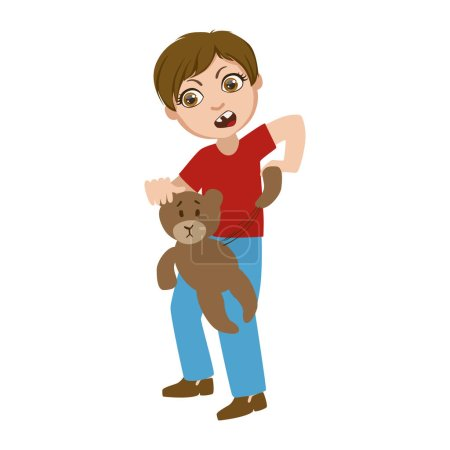 Boy Ripping Apart Teddy Bear, Part Of Bad Kids Behavior And Bullies Series Of Vector Illustrations With Characters Being Rude And Offensive