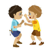 Two Bad Boys Fighting Part Of Bad Kids Behavior And Bullies Series Of Vector Illustrations With Characters Being Rude And Offensive Schoolboy With Aggressive Behavior Acting Out And Offending Other