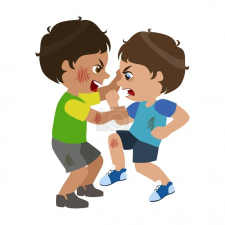 Two Boys Fighting And Scratching, Part Of Bad Kids Behavior And Bullies Series Of Vector Illustrations With Characters Being Rude And Offensive
