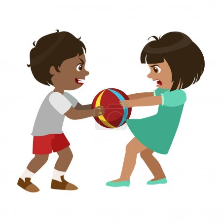 Boy Taking Away A Ball From A Girl, Part Of Bad Kids Behavior And Bullies Series Of Vector Illustrations With Characters Being Rude And Offensive