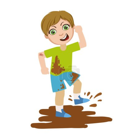 Boy Jumping In Dirt, Part Of Bad Kids Behavior And Bullies Series Of Vector Illustrations With Characters Being Rude And Offensive