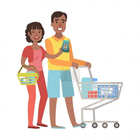 Man And Woman Shopping For Groceries In Supermarket With Shopping Cart, Illustration From Happy Loving Families Series
