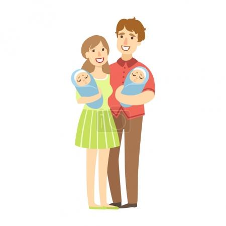 Young Parents Holding Newborn Twins In Arms, Illustration From Happy Loving Families Series