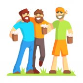 Three Friends With Bushy Beards Drinking Beer Outdoors Part Of Male Friendship Series Of Illustrations