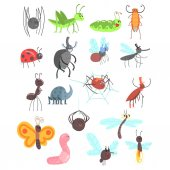 Cute Friendly Insects Set With Cartoon Bugs Beetles Flies Spiders And Other Small Animals