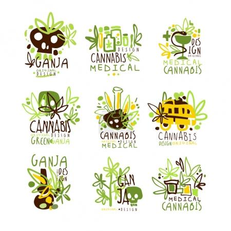 Illustration for Medical Cannabis Colorful Graphic Design Template Logo Series,Hand Drawn Vector Stencils. Artistic Promo Posters With Funky Font And Fun Design Elements. - Royalty Free Image