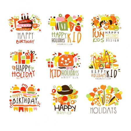 Happy Child Holiday Colorful Graphic Design Template Logo Series,Hand Drawn Vector Stencils