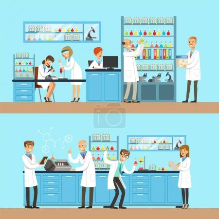 Illustration for Chemists In The Chemical Research Lab Doing Experiments And Running Chemical Tests. Busy Scientists In Lab Coats In Institute Laboratory Set Of Two Cartoon Illustrations. - Royalty Free Image