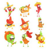 Mexican Food And Vegetables Series OF Cool Cartoon Characters In National Clothes With Guitars And Maracas Smiling And Dancing