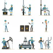 Happy People Working In Oil Industry Set Of Cartoon Characters Working At The Pipeline And Petroleum Extraction Machinery