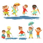 Cute smiling little kids playing on puddles set for label design Active leisure for children Cartoon detailed colorful Illustrations