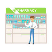 Man Manager In Pharmacy Choosing And Buying Drugs And Cosmetics Part Of Set Of Drugstore Scenes With Pharmacists And Clients Vector Cartoon Illustration With Cute Character Shopping For Medicines