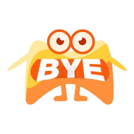 Orange Blob Saying Bye, Cute Emoji Character With Word In The Mouth Instead Of Teeth, Emoticon Message
