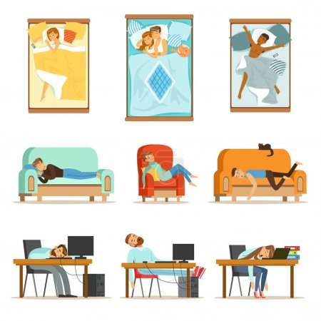 Illustration for People Sleeping In Different Positions At Home And At Work, Tired Characters Getting To Sleep Set Of Illustrations. Man And Women Taking A Nap Wherever They Can Resting And Feeling Relaxed. - Royalty Free Image