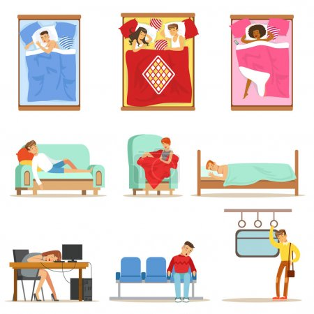 Illustration for People Sleeping In Different Positions At Home And At Work, Tired Characters Getting To Sleep Series Of Illustrations. Man And Women Taking A Nap Wherever They Can Resting And Feeling Relaxed. - Royalty Free Image