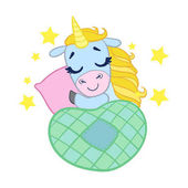 Cartoon light blue lovely sleeping unicorn. Colorful vector character