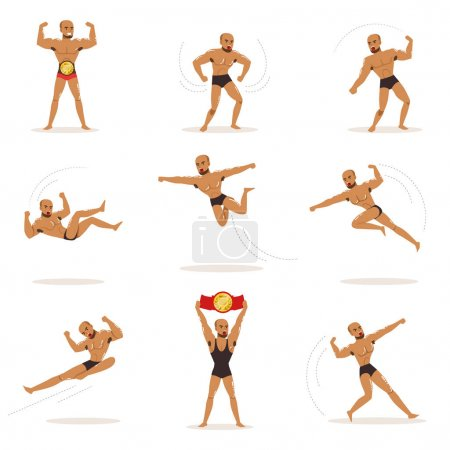 Freestyle Wrestling Fighter In Black Underwear Fighting Set Of Illustrations With Wrestler Sportsman.