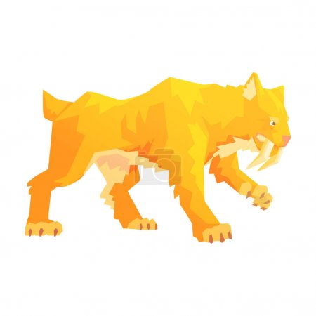 Illustration for A saber toothed tiger, a stone age character, colorful vector illustration isolated on a white background - Royalty Free Image