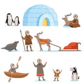 Eskimo characters in traditional clothing and their arctic animals Life in the far north Set of colorful cartoon detailed vector Illustrations