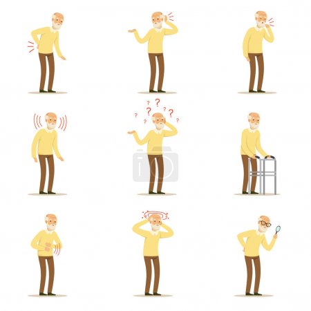 Alterskrankheiten, Schmerzen im Rücken, Nacken, Arm, Herz, Knie und Kopf. Senior Health Set von bunten Cartoon-Figuren detaillierte Vektor-Illustrationen